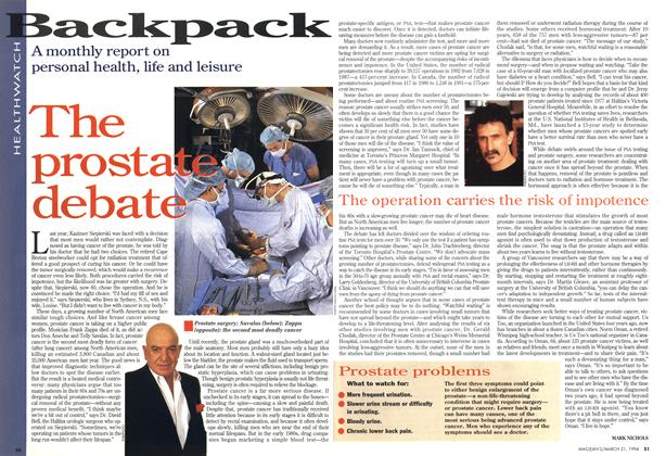 Article Preview: The prostate debate, March 1994 | Maclean's