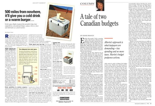 Article Preview: A tale of two Canadian budgets, March 1994 | Maclean's