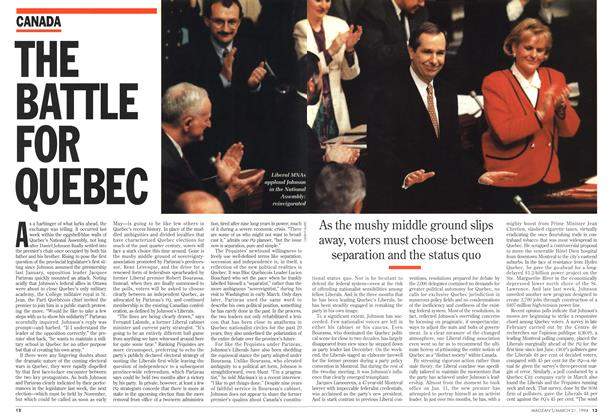 Article Preview: THE BATTLE FOR QUEBEC, March 1994 | Maclean's