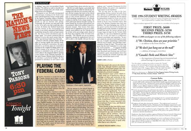 Article Preview: PLAYING THE FEDERAL CARD, March 1994 | Maclean's