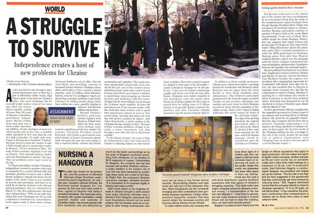 Article Preview: NURSING A HANGOVER, March 1994 | Maclean's