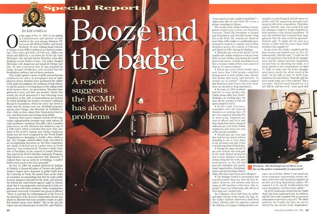 Article Preview: Booze and the badge, March 1994 | Maclean's