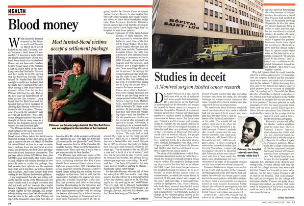 Article Preview: Blood money, March 1994 | Maclean's