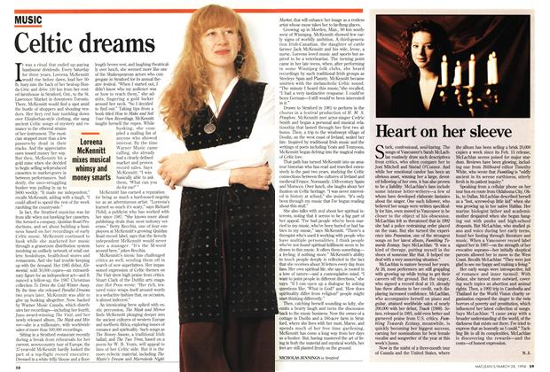 Article Preview: Heart on her sleeve, March 1994 | Maclean's