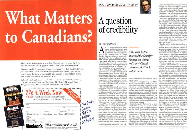 Article Preview: A question of credibility, March 1994 | Maclean's