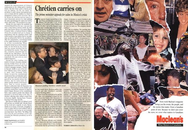 Article Preview: Chrétien carries on, April 1994 | Maclean's