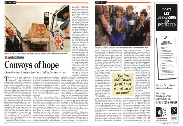 Article Preview: Convoys of hope, April 1994 | Maclean's