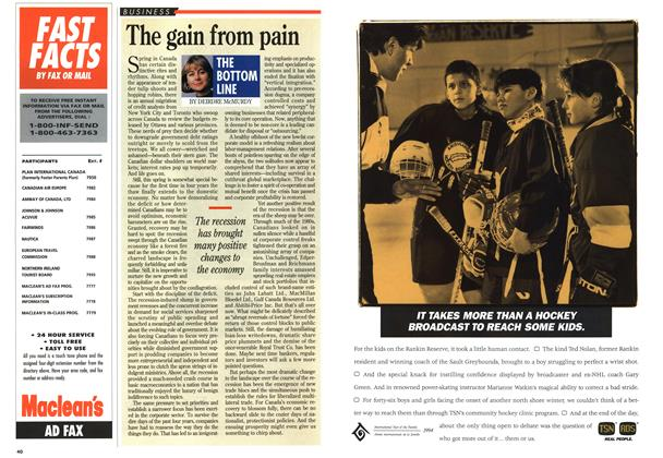 Article Preview: The gain from pain, April 1994 | Maclean's