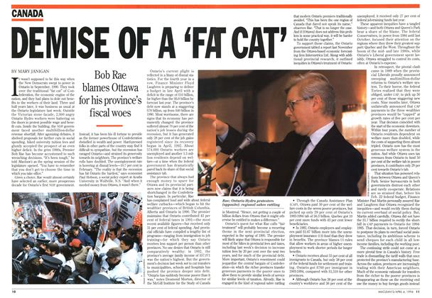 Article Preview: DEMISE OF A 'FAT CAT', April 1994 | Maclean's