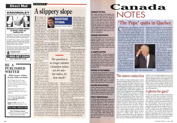 Article Preview: A slippery slope, April 1994 | Maclean's