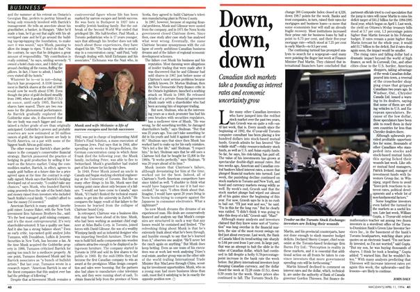 Article Preview: Down, down, down, April 1994 | Maclean's