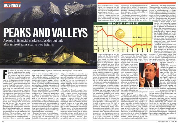 Article Preview: PEAKS AND VALLEYS, April 1994 | Maclean's