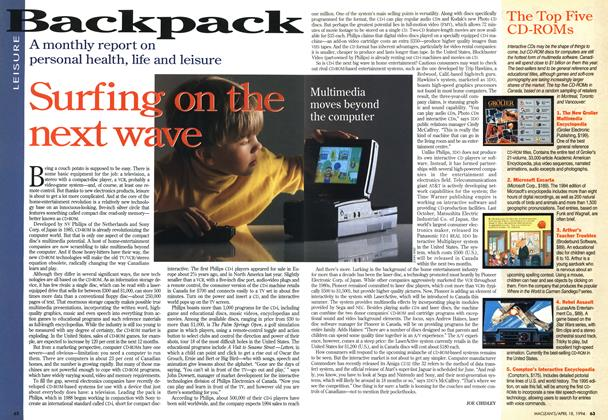 Article Preview: Surfing on the next wave, April 1994 | Maclean's