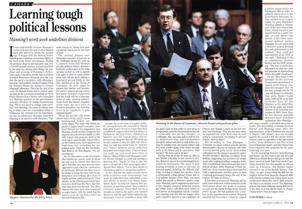 Article Preview: Learning tough political lessons, April 1994 | Maclean's