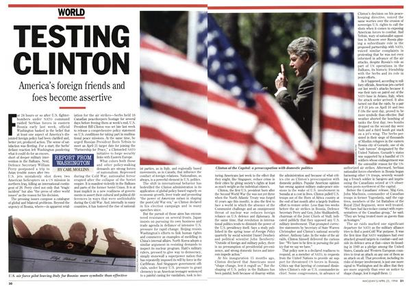 Article Preview: TESTING CLINTON, April 1994 | Maclean's