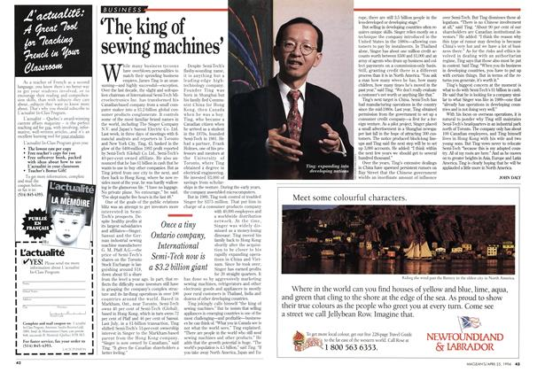 Article Preview: 'The king of sewing machines', April 1994 | Maclean's