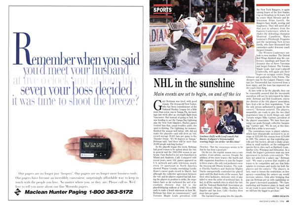 Article Preview: NHL in the sunshine, April 1994 | Maclean's