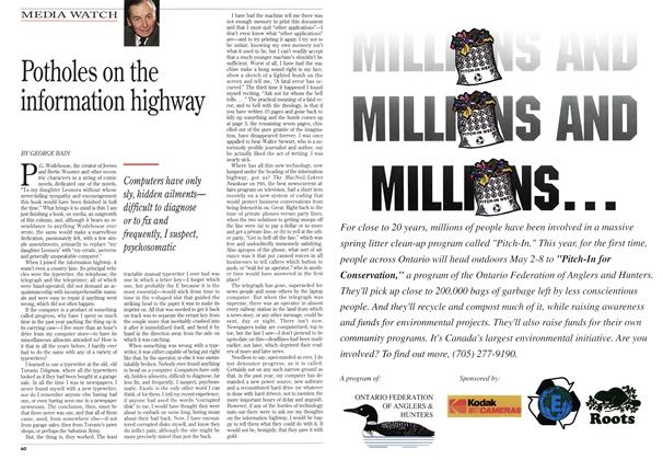 Article Preview: Potholes on the information highway, April 1994 | Maclean's