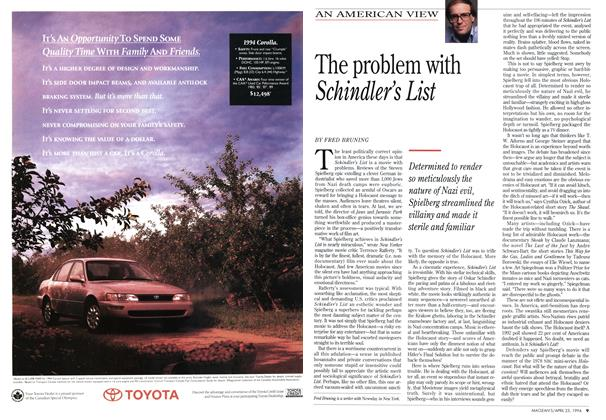 Article Preview: The problem with Schindler's List, April 1994 | Maclean's