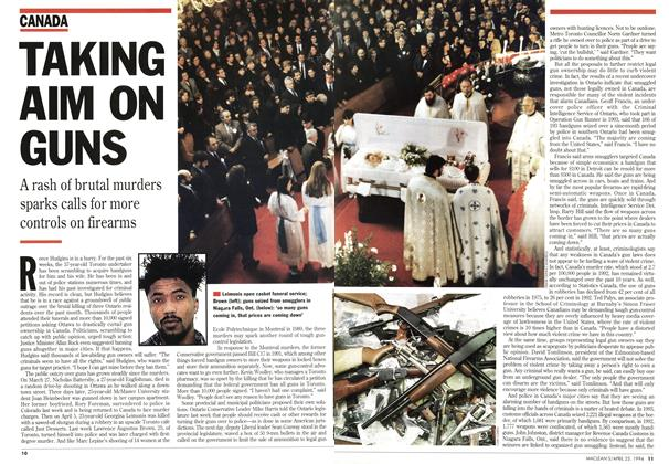Article Preview: TAKING AIM ON GUNS, April 1994 | Maclean's