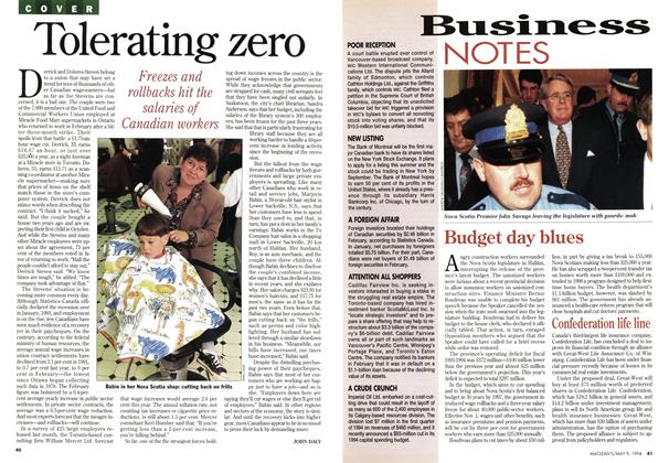 Article Preview: Tolerating zero, May 1994 | Maclean's