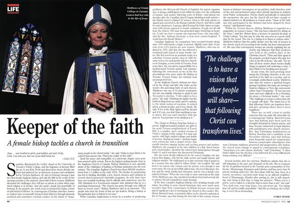 Article Preview: Keeper of the faith, May 1994 | Maclean's