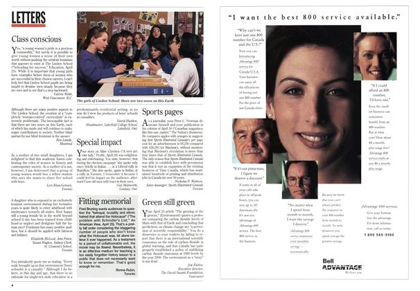 Article Preview: LETTERS, May 1994 | Maclean's