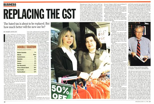 Article Preview: REPLACING THE GST, May 1994 | Maclean's