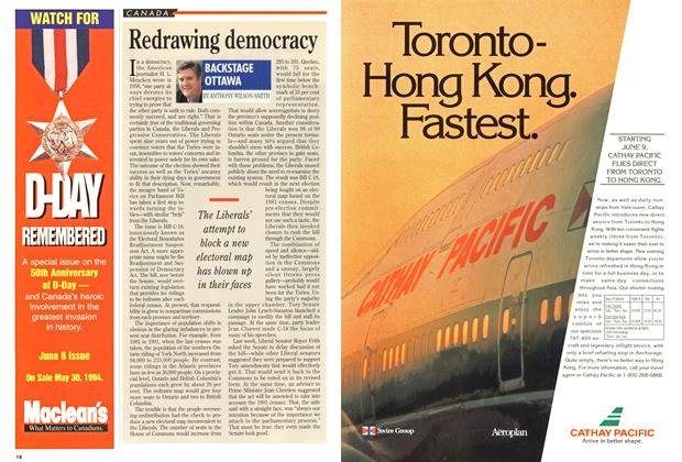 Article Preview: Redrawing democracy, May 1994 | Maclean's