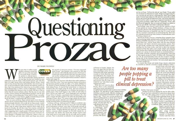Article Preview: Questioning Prozac, May 1994 | Maclean's