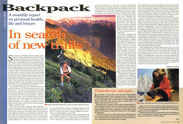 Article Preview: In search of new trails, May 1994 | Maclean's