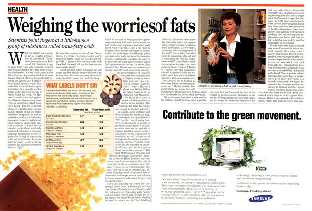 Article Preview: Weighing the worries of fats, May 1994 | Maclean's