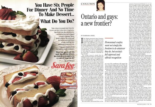 Article Preview: Ontario and gays: a new frontier?, June 1994 | Maclean's