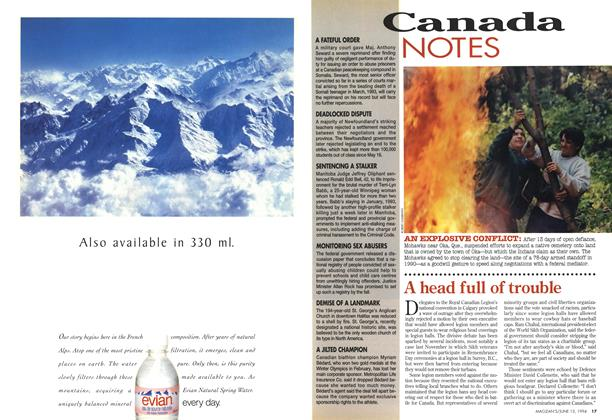 Article Preview: A head full of trouble, June 1994   Maclean's