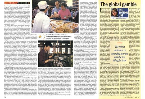 Article Preview: The global gamble, June 1994 | Maclean's