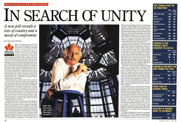 Article Preview: IN SEARCH OF UNITY, July 1994 | Maclean's