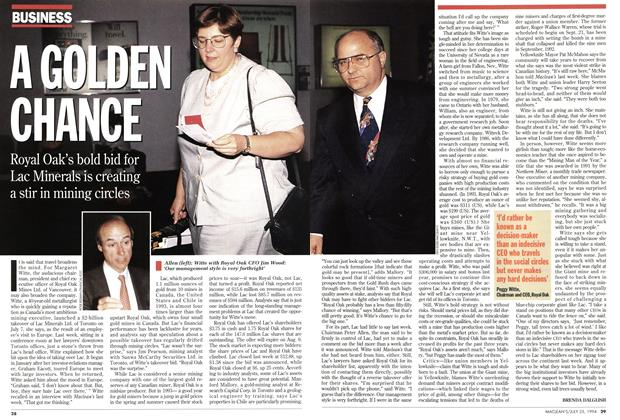 Article Preview: A GOLDEN CHANCE, July 1994 | Maclean's