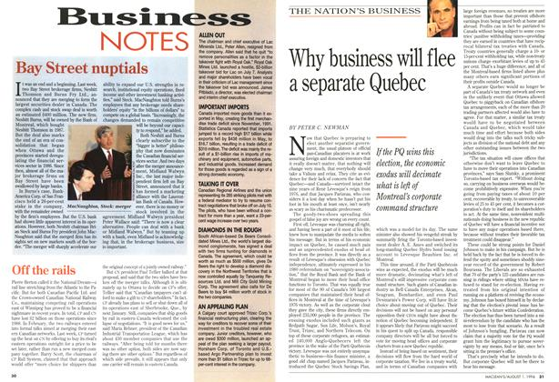 Article Preview: Why business will flee a separate Quebec, August 1994 | Maclean's