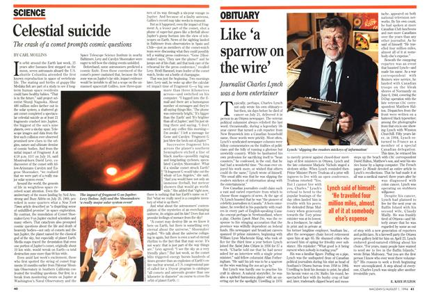 Article Preview: Like 'a sparrow on the wire', August 1994 | Maclean's