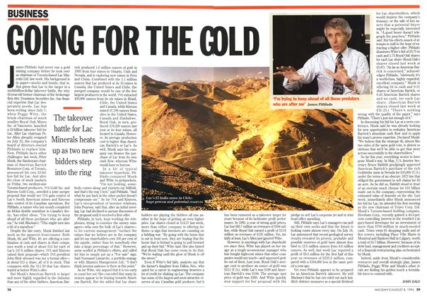 Article Preview: GOING FOR THE GOLD, August 1994 | Maclean's