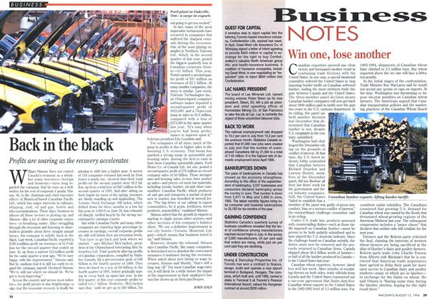 Article Preview: Back in the black, August 1994 | Maclean's