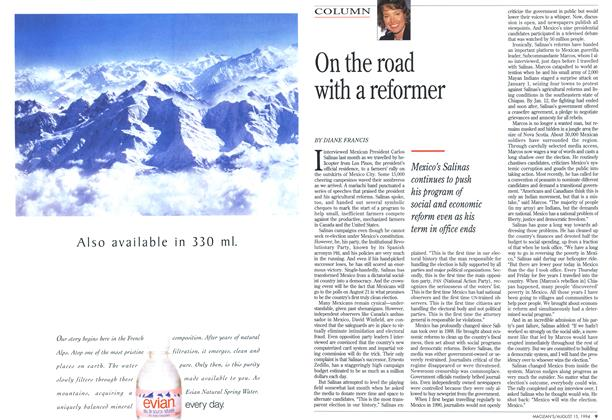 Article Preview: On the road with a reformer, August 1994 | Maclean's