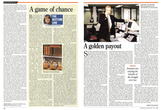 Article Preview: A golden payout, August 1994 | Maclean's