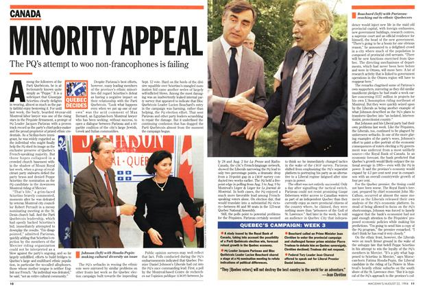 Article Preview: MINORITY APPEAL, August 1994 | Maclean's