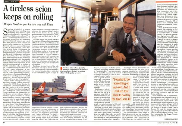 Article Preview: A tireless scion keeps on rolling, August 1994 | Maclean's