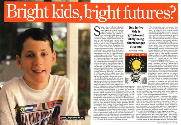 Article Preview: Bright kids, bright futures?, August 1994 | Maclean's