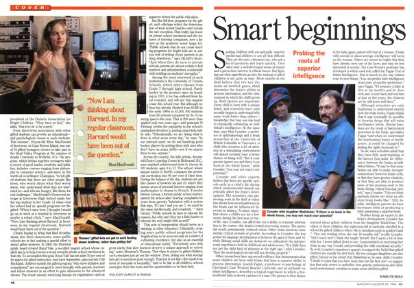 Article Preview: Smart beginnings, August 1994 | Maclean's