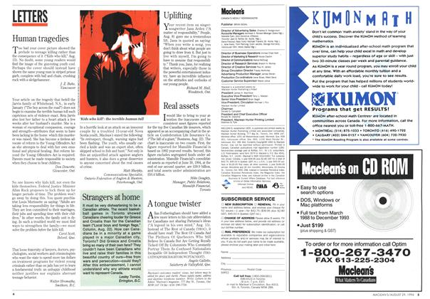 Article Preview: LETTERS, August 1994 | Maclean's