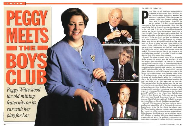 Article Preview: PEGGY MEETS THE BOYS CLUB, September 1994 | Maclean's