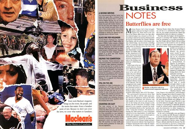 Article Preview: Butterflies are free, September 1994 | Maclean's